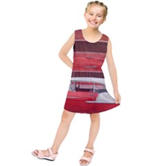 Classic Car Chevy Bel Air Dodge Red White Vintage Photography Kids  Tunic Dress
