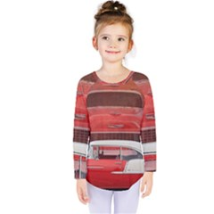 Classic Car Chevy Bel Air Dodge Red White Vintage Photography Kids  Long Sleeve Tee