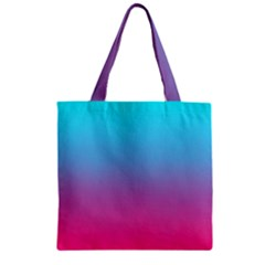 Blue Pink Purple Zipper Grocery Tote Bag