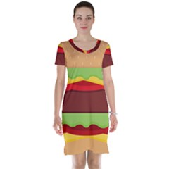 Cake Cute Burger Copy Short Sleeve Nightdress