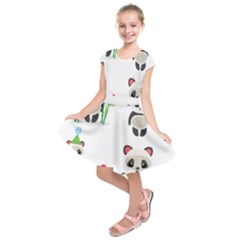 Panda Cute Animals Kids  Short Sleeve Dress