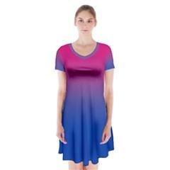 Pink Blue Purple Short Sleeve V Neck Flare Dress