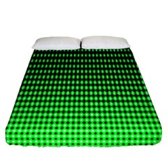Neon Green And Black Halftone Copy Fitted Sheet (queen Size)