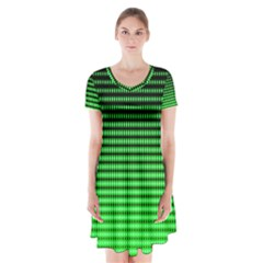 Neon Green And Black Halftone Copy Short Sleeve V Neck Flare Dress