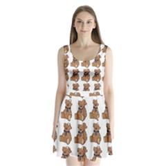 Bear Split Back Mini Dress