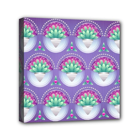 Background Floral Pattern Purple Mini Canvas 6  X 6