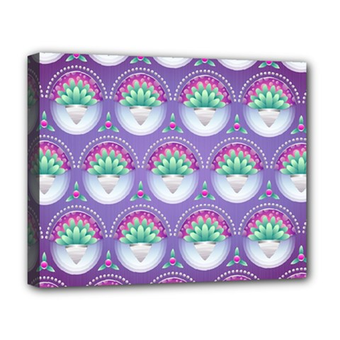 Background Floral Pattern Purple Deluxe Canvas 20  X 16