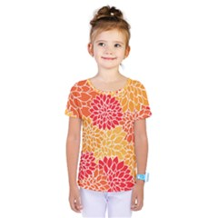 Vintage Floral Flower Red Orange Yellow Kids  One Piece Tee
