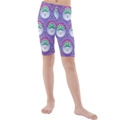 Background Floral Pattern Purple Kids  Mid Length Swim Shorts