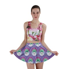 Background Floral Pattern Purple Mini Skirt