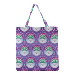 Background Floral Pattern Purple Grocery Tote Bag