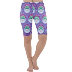 Background Floral Pattern Purple Cropped Leggings