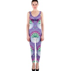 Background Floral Pattern Purple OnePiece Catsuit