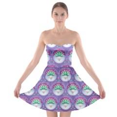 Background Floral Pattern Purple Strapless Bra Top Dress
