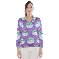 Background Floral Pattern Purple Wind Breaker (women)