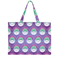 Background Floral Pattern Purple Zipper Large Tote Bag