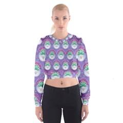 Background Floral Pattern Purple Women s Cropped Sweatshirt