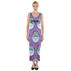 Background Floral Pattern Purple Fitted Maxi Dress
