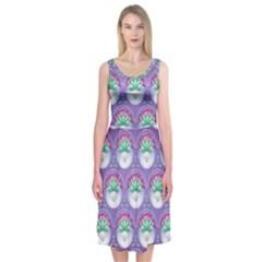 Background Floral Pattern Purple Midi Sleeveless Dress