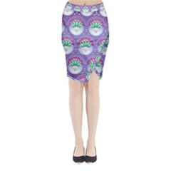 Background Floral Pattern Purple Midi Wrap Pencil Skirt