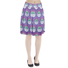 Background Floral Pattern Purple Pleated Skirt