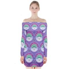 Background Floral Pattern Purple Long Sleeve Off Shoulder Dress