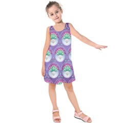 Background Floral Pattern Purple Kids  Sleeveless Dress