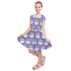 Background Floral Pattern Purple Kids  Short Sleeve Dress