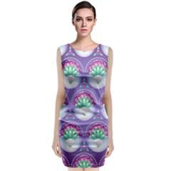 Background Floral Pattern Purple Sleeveless Velvet Midi Dress