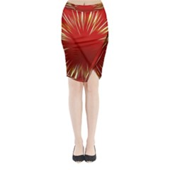 Color Gold Yellow Background Midi Wrap Pencil Skirt