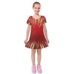 Color Gold Yellow Background Kids  Short Sleeve Velvet Dress
