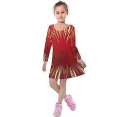 Color Gold Yellow Background Kids  Long Sleeve Velvet Dress