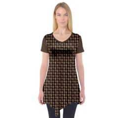 Fabric Pattern Texture Background Short Sleeve Tunic