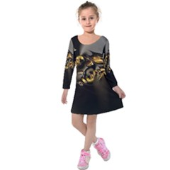 Fractal Mathematics Abstract Kids  Long Sleeve Velvet Dress