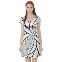 Fractal Symmetry Pattern Network Short Sleeve Skater Dress