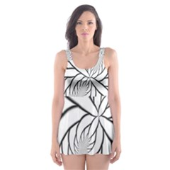 Fractal Symmetry Pattern Network Skater Dress Swimsuit