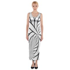 Fractal Symmetry Pattern Network Fitted Maxi Dress