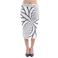 Fractal Symmetry Pattern Network Midi Pencil Skirt