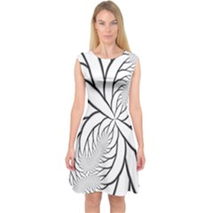 Fractal Symmetry Pattern Network Capsleeve Midi Dress