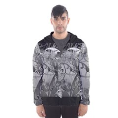 Kringel Circle Flowers Butterfly Hooded Wind Breaker (men)