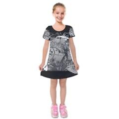 Kringel Circle Flowers Butterfly Kids  Short Sleeve Velvet Dress