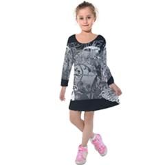 Kringel Circle Flowers Butterfly Kids  Long Sleeve Velvet Dress