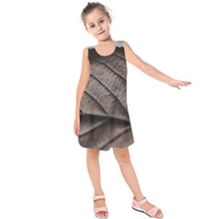 Leaf Veins Nerves Macro Closeup Kids  Sleeveless Dress
