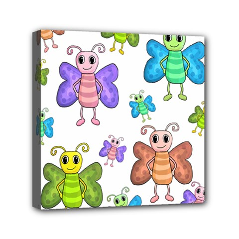 Colorful, cartoon style butterflies Mini Canvas 6  x 6