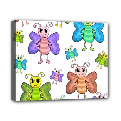 Colorful, cartoon style butterflies Canvas 10  x 8