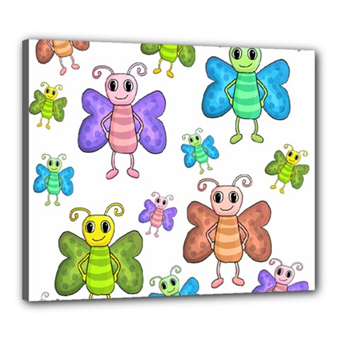 Colorful, cartoon style butterflies Canvas 24  x 20