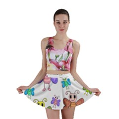 Colorful, Cartoon Style Butterflies Mini Skirt