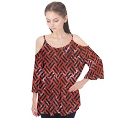 Woven2 Black Marble & Red Marble (r) Flutter Sleeve Tee