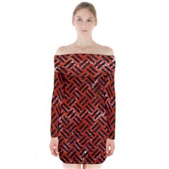 Woven2 Black Marble & Red Marble (r) Long Sleeve Off Shoulder Dress