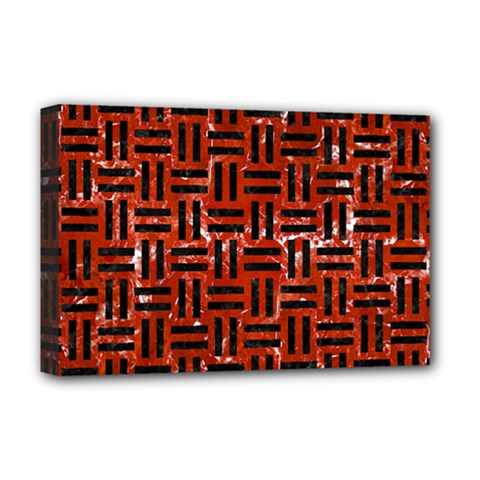 Woven1 Black Marble & Red Marble (r) Deluxe Canvas 18  X 12  (stretched)